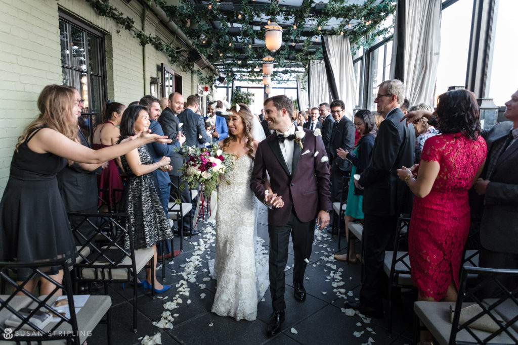 gramercy park hotel wedding ceremony recessional with flower petals