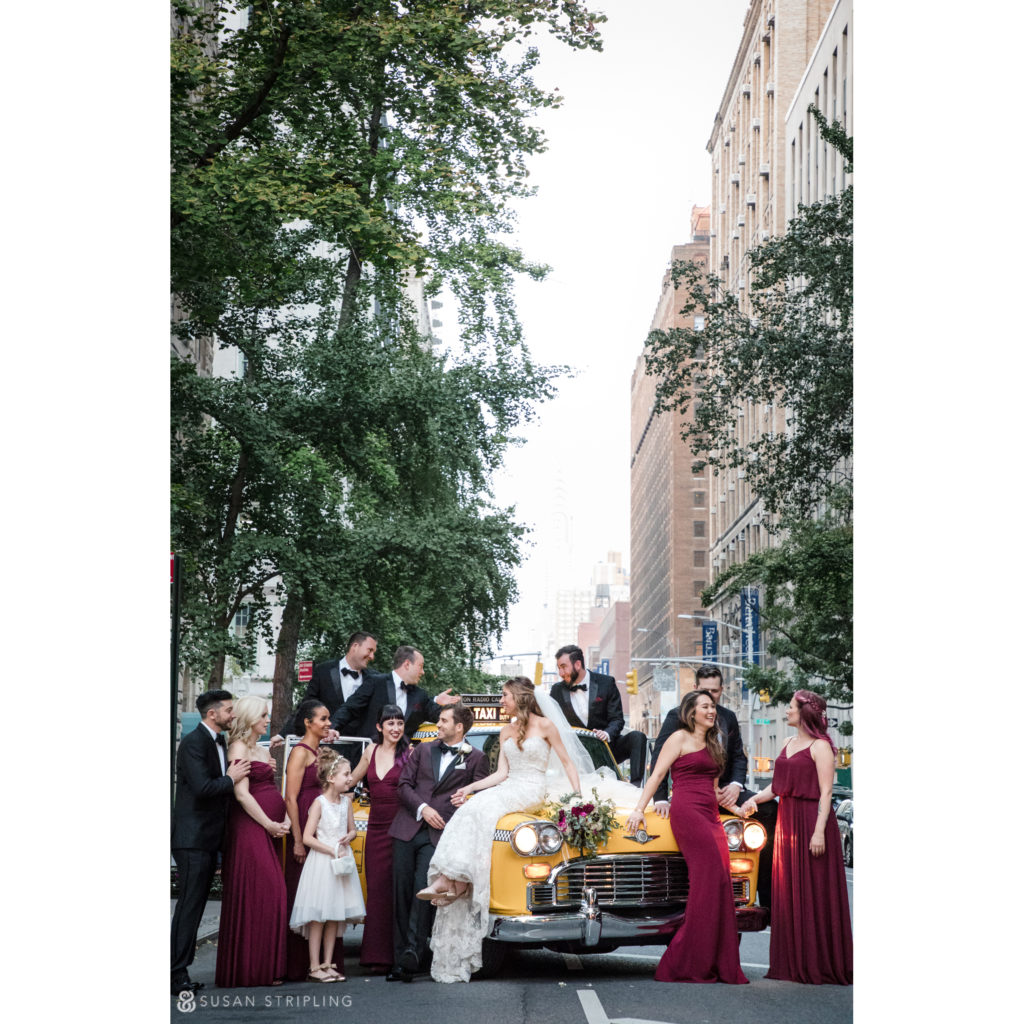 places to take pictures gramercy park hotel wedding, wedding party in the streets of manhattan with a vintage cab