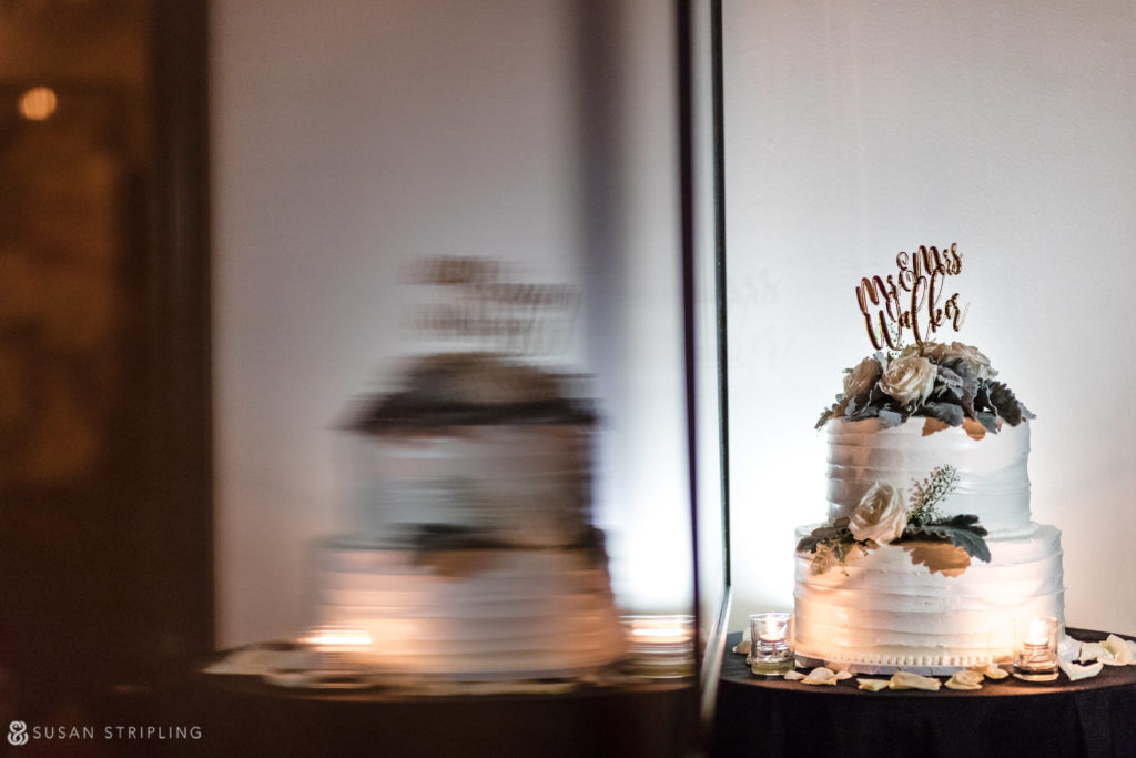 gramercy park hotel wedding cake with a custom name cake topper