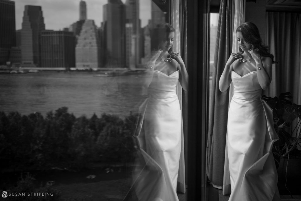 view of the manhattan skyline from a 1 hotel brooklyn bridge wedding