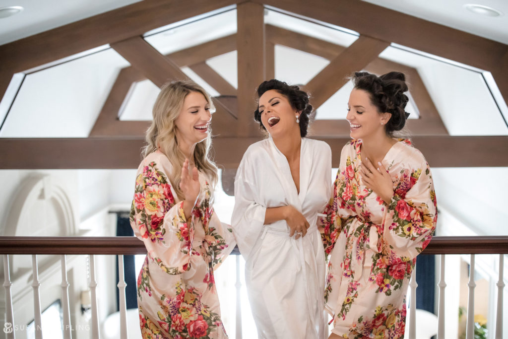 bridgehampton new york wedding flowered bridesmaid robes