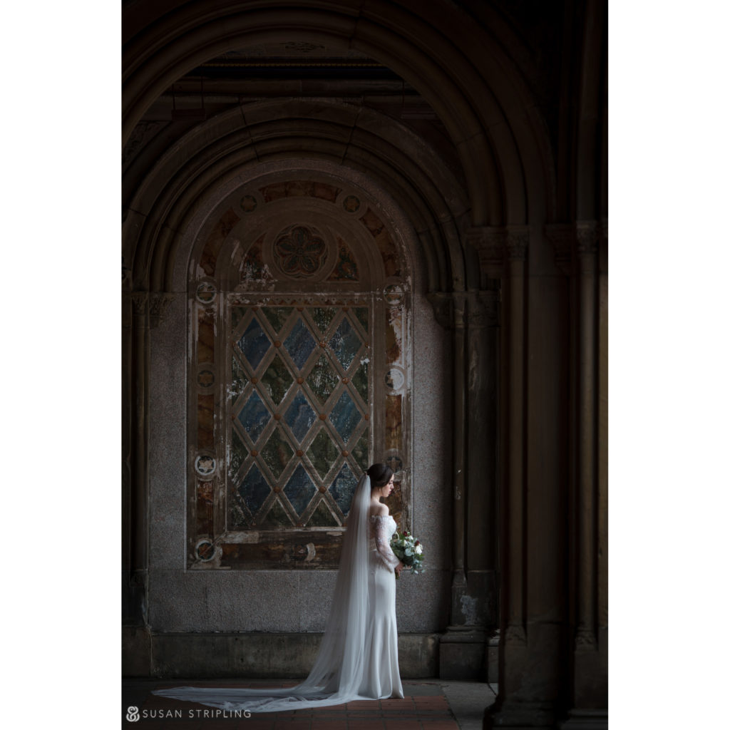 bethesda terrace bridal portrait