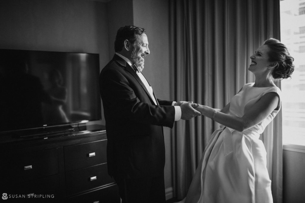 bride's first look with her father on her wedding day at the Westin in philadelphia