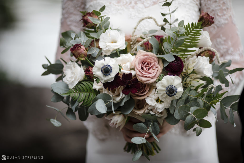 creative wedding bouquet in new york with lots of greenery