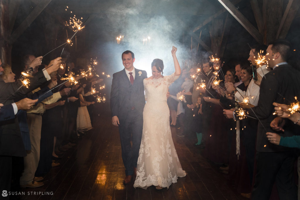 sparkler exit vermont barn wedding riverside farm