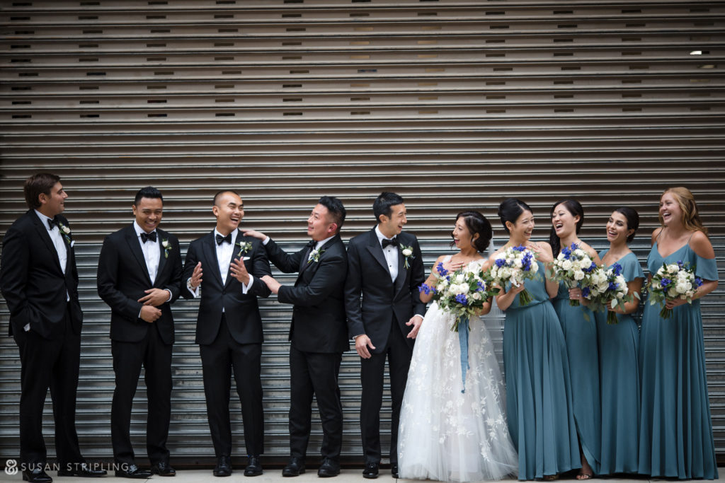 wedding party photos cobblestone streets tribeca rooftop