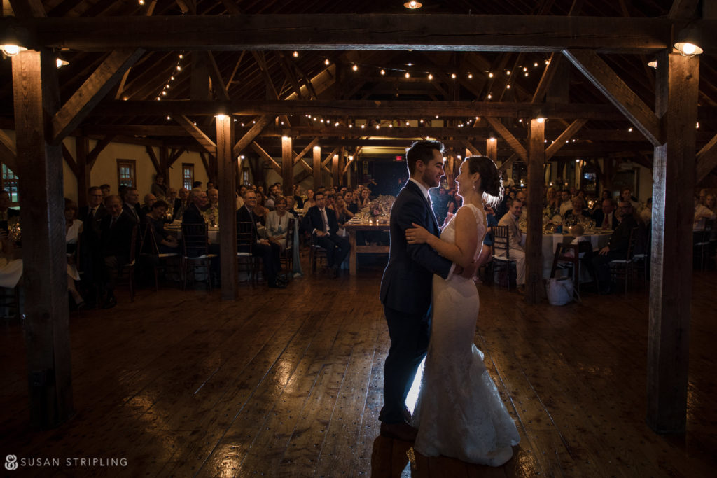 reception in barn riverside farm wedding