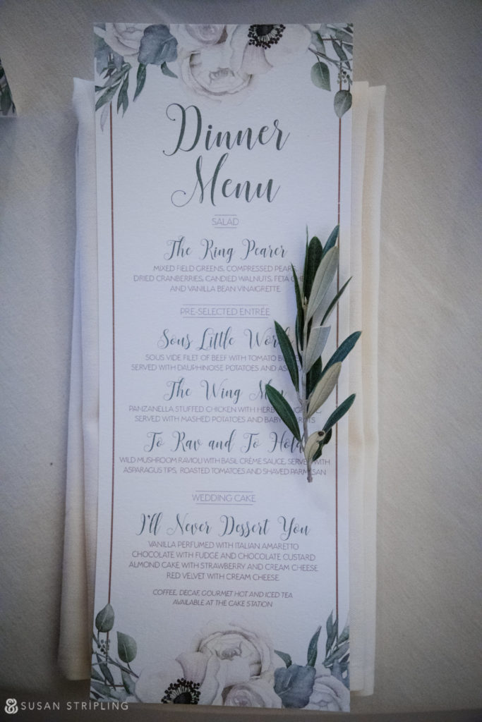 alfond inn wedding menu