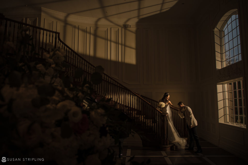 estate at florentine gardens wedding staircase shot