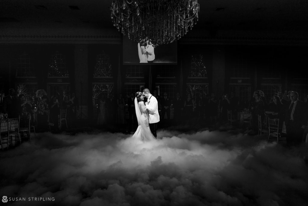 estate at florentine gardens wedding fog first dance