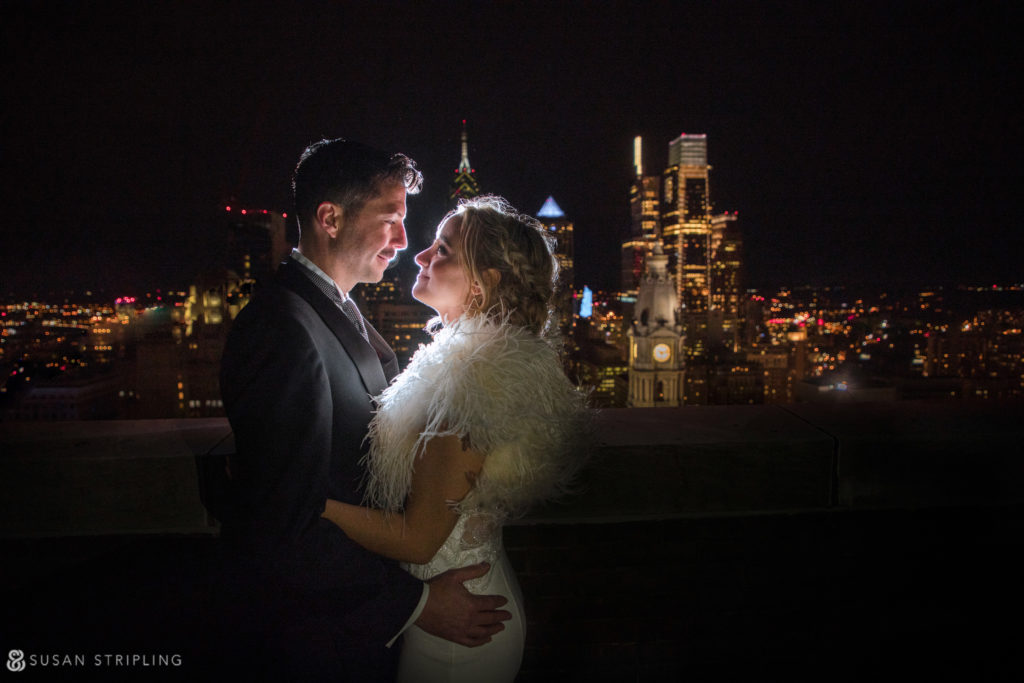 loews philly wedding rooftop night shot
