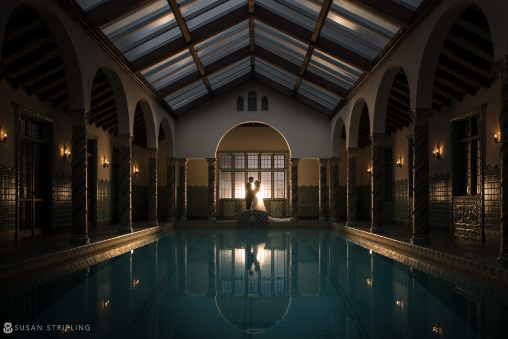 Pool at Pleasantdale Chateau for wedding photos