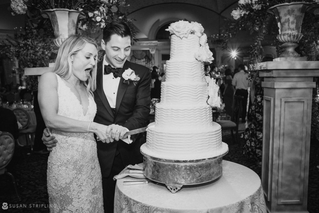 Cake cutting at Pleasantdale Chateau wedding