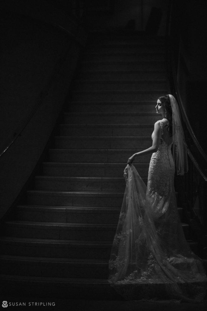 Philly Ritz Carlton Hotel wedding photos on staircase