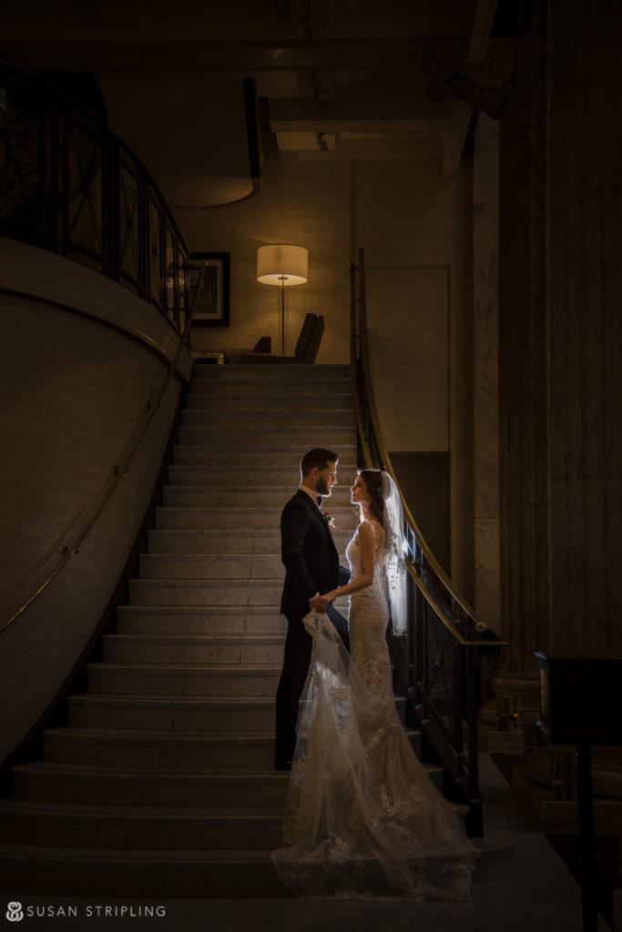 Philly Ritz Carlton Hotel wedding staircase photos